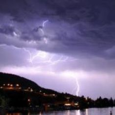 An awesome lightening storm over Skaha Lake