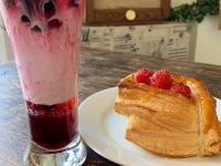 berry smoothie and raspberry pastry from Petrasek Bakery