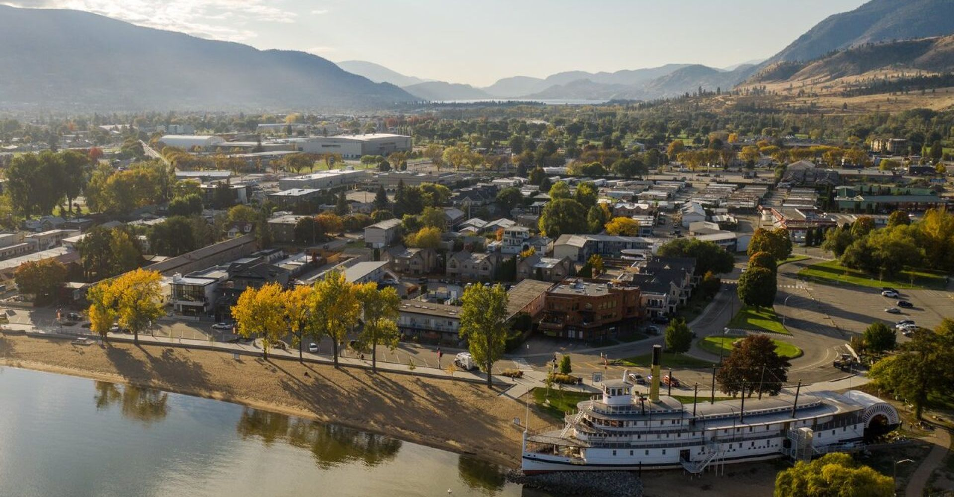 Aerial shot of Penticton from above SS Sicamous