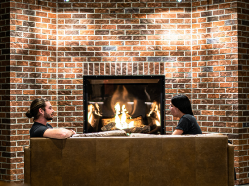 neighbourhood brew tasting room fireplace