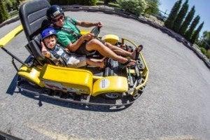 go karting at LocoLanding in Penticton, BC