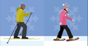snowshoeing or cross country skiing