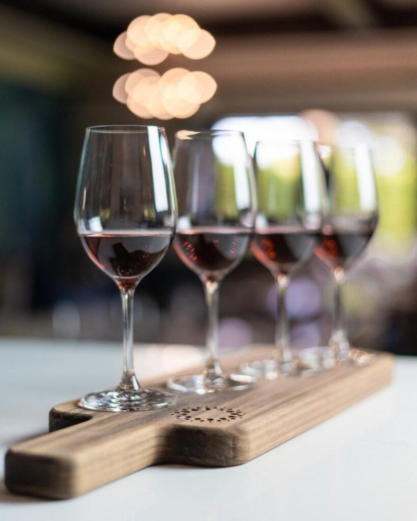 Red wine flight at Naramata Inn