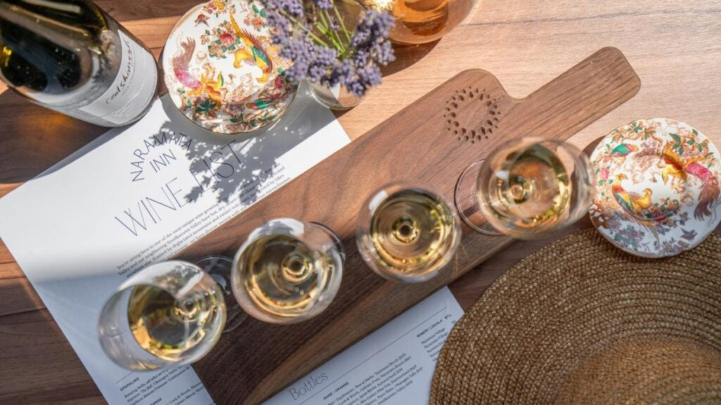 White wine flight on the patio of Naramata Inn